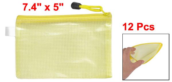 12 Pcs Office A6 Paper Pen Holder Zippered PVC File Folder Bags Clear Yellow