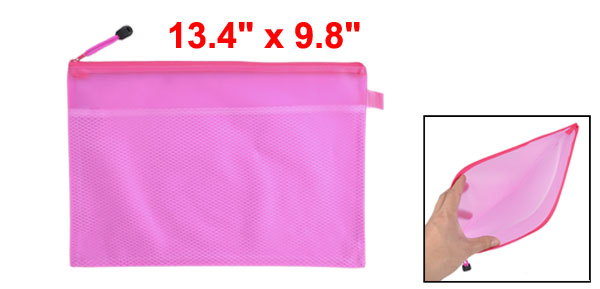 Two Compartments A4 Paper Pen Holder Zippered PVC File Folder Bags Fuchsia