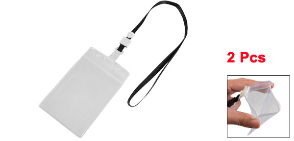 Clear PVC Vertical Design ID Card Badge Holder Black Neck Strap Lanyard 2 Pcs