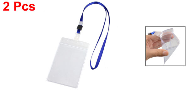 Water Resistant Blue Clear ID Card Badge PVC Vertical Holder Lanyard 2 Pcs