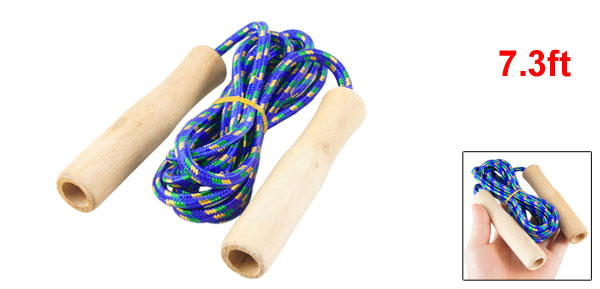 7.3ft Long Exercise Wooden Handles Blue Nylon Jumping Skipping Rope