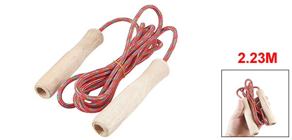 7.3ft Length Wood Handle Red Nylon Coated Jumping Jump Skipping Rope