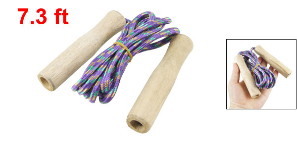 7.3ft Length Wood Handle Purple Nylon Coated Jumping Jump Skipping Rope