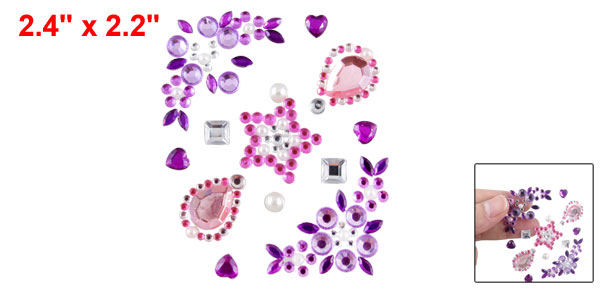 Pink Purple Clear Plastic Crystal 3D Seal Sticker for Cell Phone