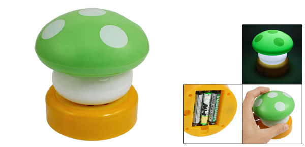 Bedroom Green Plastic Mushroom Press Down Touch White LED Night Lamp Light