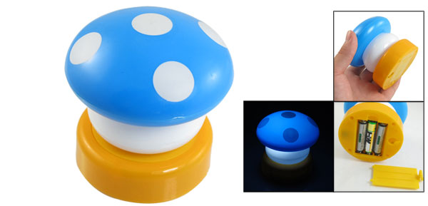 Home Desk Decor Blue White Mushroom Shaped Plastic Night Touch Lamp
