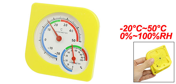 Yellow Plastic Indoor Wall Tabletop Wet Humidity Thermometer Hygrometer