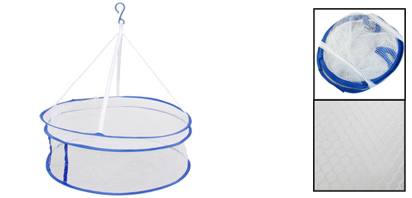 White Blue Nylon Meshy 2-Layer Closed Type Folding Clothes Dryer Basket