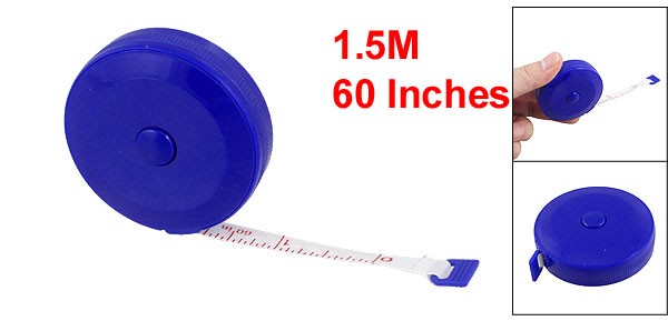 Blue Shell Retractable English Metric Ruler Tape Measuring Tool 1.5M 60 Inches