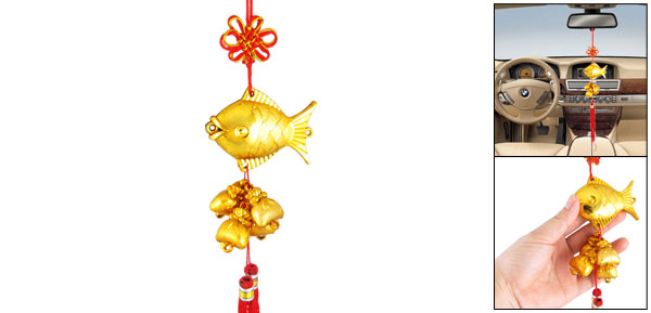 Gold Tone Fish Pouch Tassels Detail Chinese Knot Style Auto Car Hanging Ornament