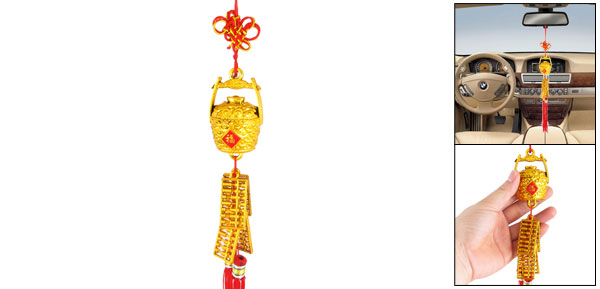 Tassels Detail Plastic Basket Abacus Chinese Knot Style Auto Car Hanging Ornament