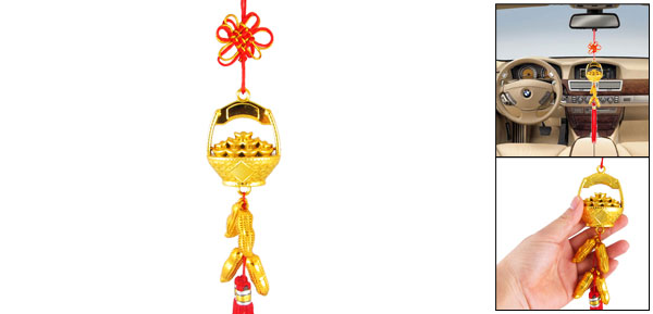 Plastic Auspicious Basket Peanut Decor Car Hanging Ornament Chinese Knot