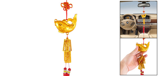 Tassels Detail Plastic Fish Abacus Chinese Knot Style Auto Car Hanging Ornament