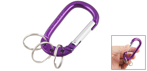 Spring Loaded Gate D Shaped Purple Aluminum Alloy Carabiner Hook Split Keyring
