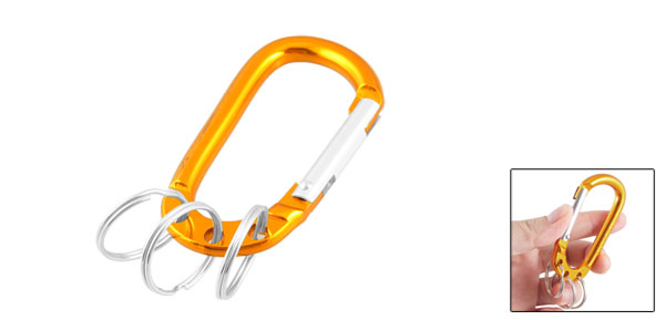 Gold Tone Aluminum Alloy Three Split Ring Bottle Holder Carabiner Hook Keyring