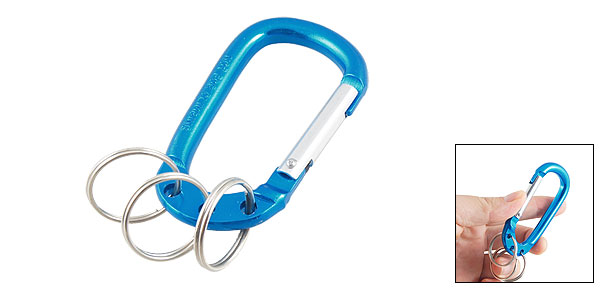 Teal Blue Aluminum Alloy Three Split Ring Bottle Holder Carabiner Hook Clip