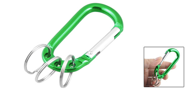 Hiking Camping Spring Loaded D Shape Green Carabiner Hook Pouch Holder Keyring
