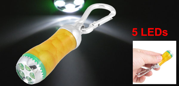 Yellow Casing White 5 LEDs Light Mini Flashlight Torch Penlight w Carabiner Hook
