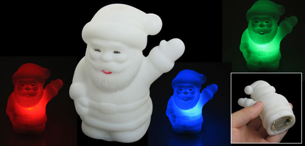 White Plastic Santa Claus Design Color Changed Electronic LED Night Light