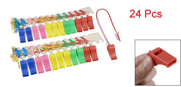 24 Pcs Assorted Color Sports Referee Type Whistles w Straps