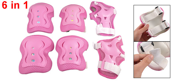 Kids Skate 6 in 1 Wrist Elbow Knee Plastic Pads Support Brace Set Pink White