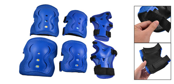 Kids Skating 6 in 1 Wrist Elbow Knee Plastic Pads Support Brace Set Blue
