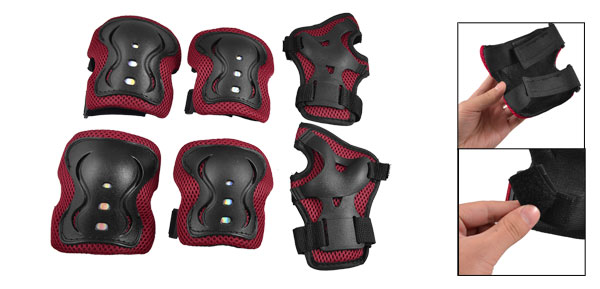 Kids Skate 6 in 1 Palm Elbow Knee Plastic Pads Brace Support Red Black