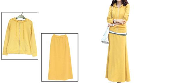 Ladies Yellow Elastic Waist A-Line Skirt w Long Sleeves Hoodie XS
