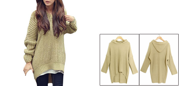 Lady Batwing Sleeves Irregular Hem Loose Tunic Hooded Sweater Beige S