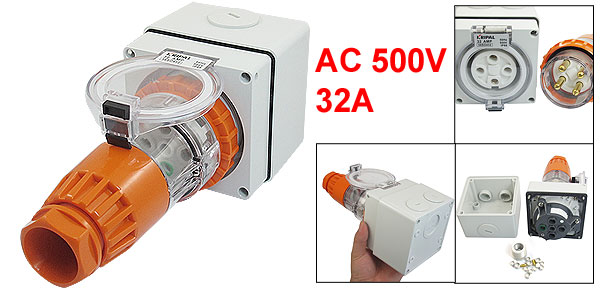 AC 500V 32A IP66 3Pin + E 56P432 Industrial Straight Connector w 56SO432 Socket