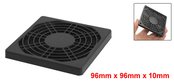96mm x 96mm x 10mm Square Plastic Dustproof PC Fan Dust Filter Black