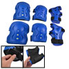 Skating 6 in 1 Wrist Elbow Knee Plastic Pads Support Brace Set Blue