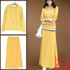 Ladies Yellow Elastic Waist A-Line Skirt w Long Sleeves Hoodie XS