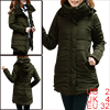 Ladies Army Green Long Sleeves Tunic Removable Hooded Padded Coat...