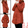 Ladies Dark Orange Convertible Collar Zip Up Tunic Padded Coat XS