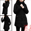 Ladies Black With Lining Hooded Side Pockets Casual Puffer Coat X...