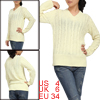 Lady Beige V-neck Stretch Ribbing Trim Cable Design Leisure Fall Sweater S