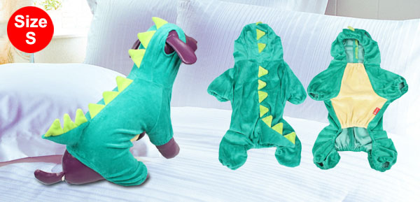 Costume Party Plush Green Dinosaur Design Yorkie Dog Jumpsuit Apparel S
