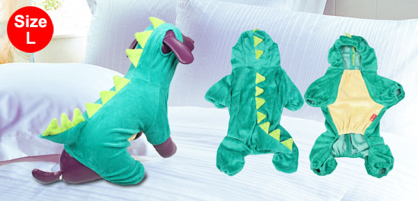 Halloween Costume Dinosaur Design Dog Poodle Coat Clothing Overall Jumpsuit L