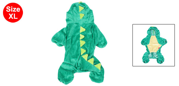 Costume Plush Dinosaur Design Pet Dog Jumpsuit Apparel Green XS S M L XL
