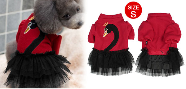 Plush Lining Crowned Swan Pattern Tiered Doggie Dog Dress Clothes Red S