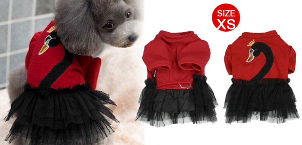 Swan Print Mesh Tiered Poodle Puppy Dog Dress Pet Apparel Clothing Red XS