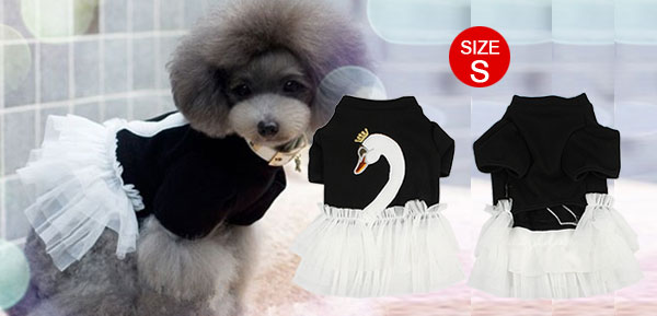 Mesh Tiered Layered Poodle Dog Dress Apparel Doggy Clothes Black S