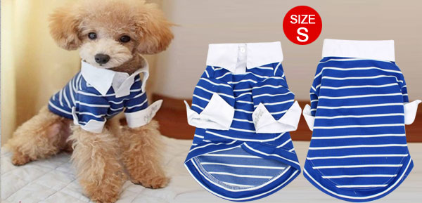 Blue Striped Chihuahua Pet Doggie Dog Shirts Clothes Apparel Size S