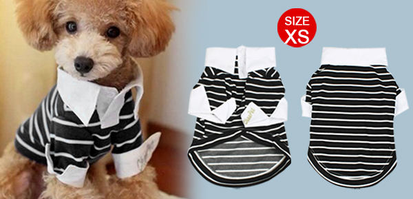 Pointed Collar Striped Chihuahua Dog Clothes Pet Doggie Shirt Top Black XS