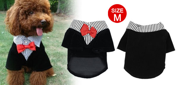 Pet Dog Yorkie Doggy Coat Clothes Apparel Black White Corduroy Tuxedo Tailcoat M