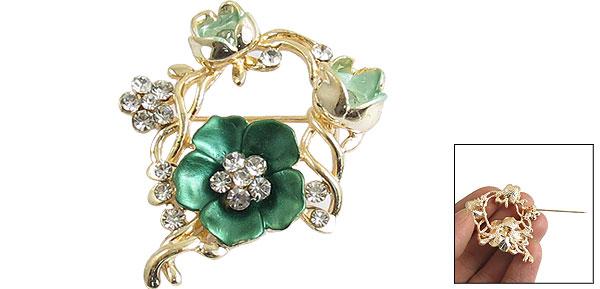 Dress Ornament Green Flower Rhinestone Accent Alloy Brooch Pin