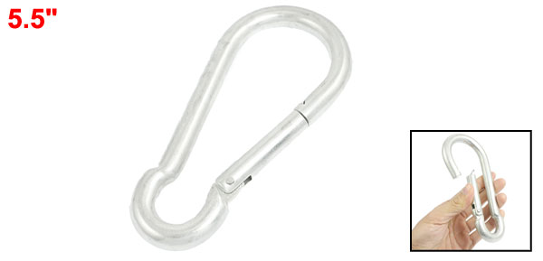Spring Loaded Gate Lock Silver Tone Metal 12mm Dia Carabiner Hook 5.5