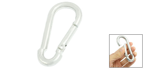 Spring Loaded Gate Lock Silver Tone Metal 8mm Dia Carabiner Hook 3.1