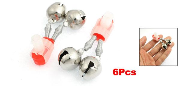 Red Plastic Clip Fishing Rod Pole Round Alarm Twin Alert Bell 6Pcs